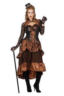 Steampunk Damen-Kostüm Luxus Viktorianisches Kleid Gothic braun schwarz Spitze K