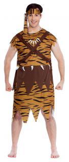 Höhlenmensch Kostüm Neandertaler Urmensch Herren Kette Stirnband Steinzeitmann K