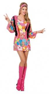 Flower Power Kostüm Damen Hippie Kleid Peace 70er Jahre Fasching Karneval KK