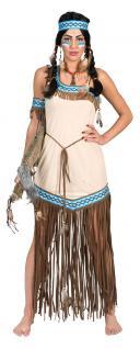 Indianer Squaw Damen-Kostüm Indianerin Kostüm Pocahontas beige blau Karneval KK