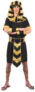 Pharao Ägypter König Kostüm Herren mit Kopfbedeckung schwarz gold Karneval KK