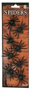 Spinnen 8 kleine Spinnen schwarz Deko Halloween Spinnen Halloween Karneval KK