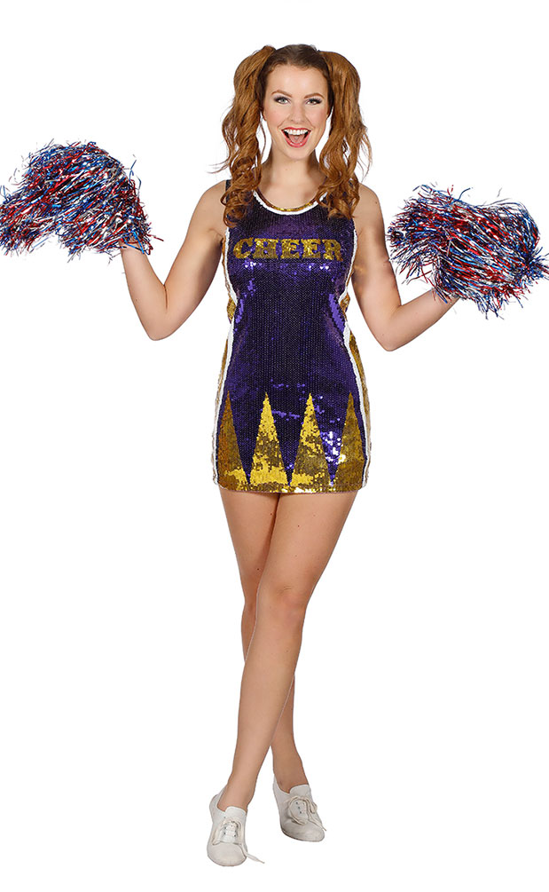 Cheerleader Kostum Damen Pailletten Cheerleading Uniform Flieder