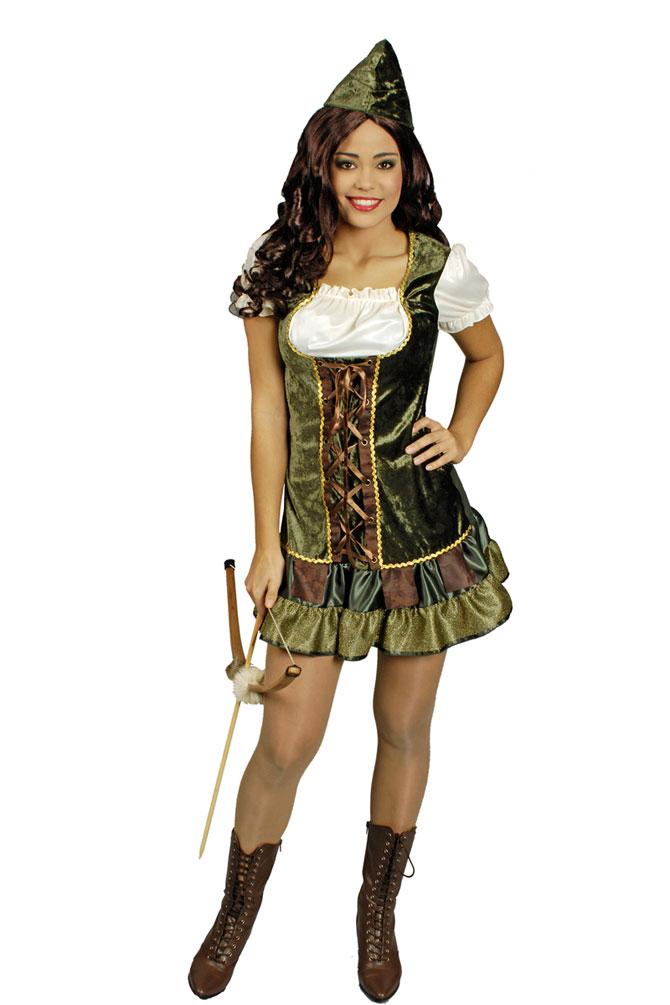 Robin Hood Kostum Damen Sexy Mittelalter Kleid Mit Hut Jagerin