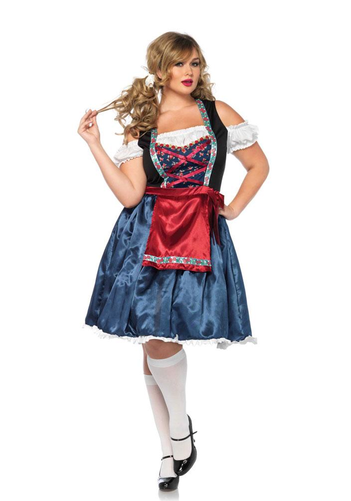 Oktoberfest Kostüm Blau Damen Dirndl Luxus Size Plus Trachten xthQdrCs