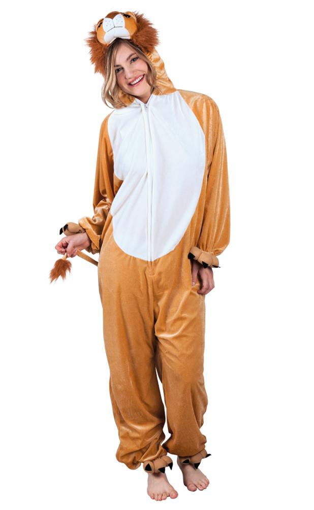 Kostüm Löwe Löwenkostüm Damen Plüsch Löwe Overall Lion Tierkostüm