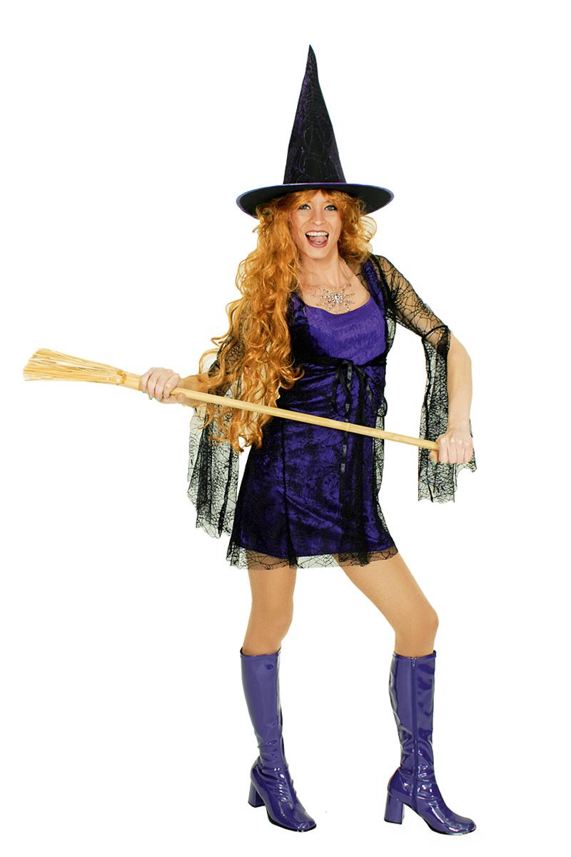 Hexenkostüm E Damen Mit Spinnennetz Mit Hexenhut Lila Schwarz Halloween Hexe Kk