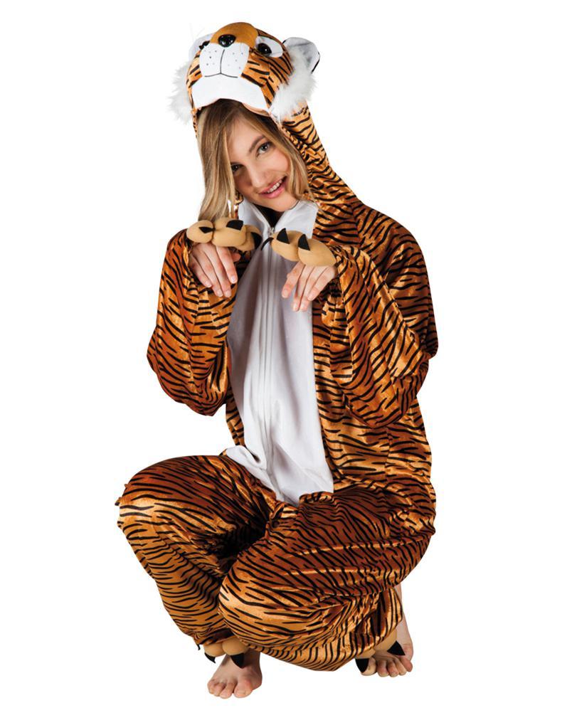 Tiger Kostüm Damen Bageera Plüsch Tiger Overall Tier Kostüm Damen
