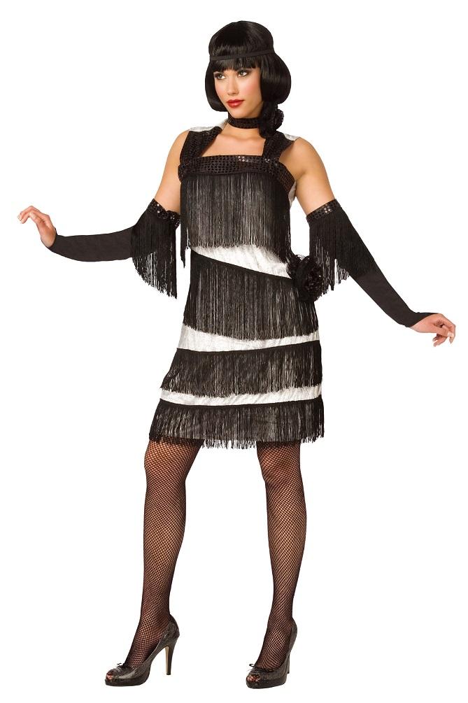 Charleston Kleid Damen Kostum 20er Jahre Weiss Schwarz Fasching