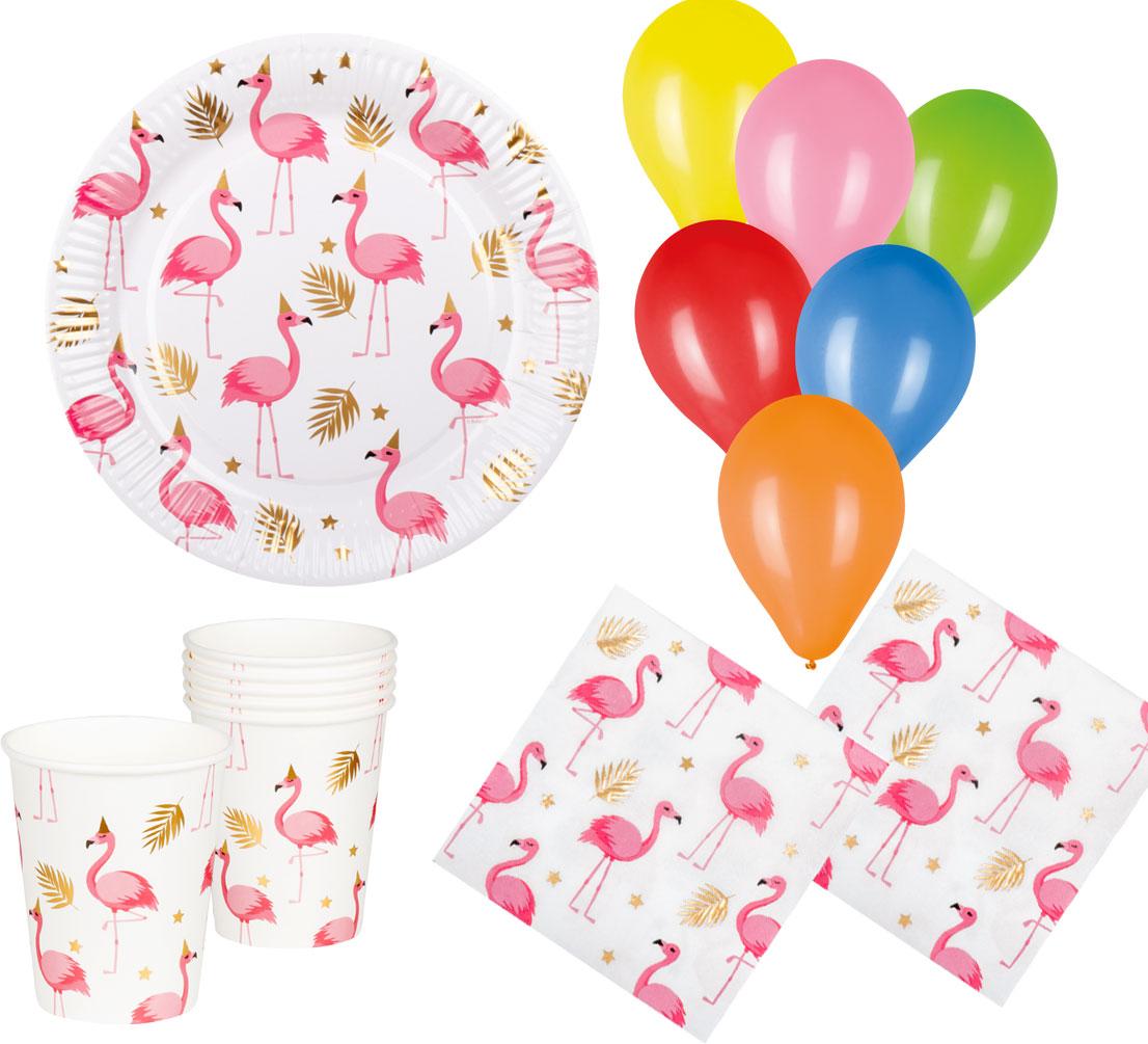 Flamingo Party Set Sommer Tisch-Deko Geschirr 24 Teile Teller Becher Servietten