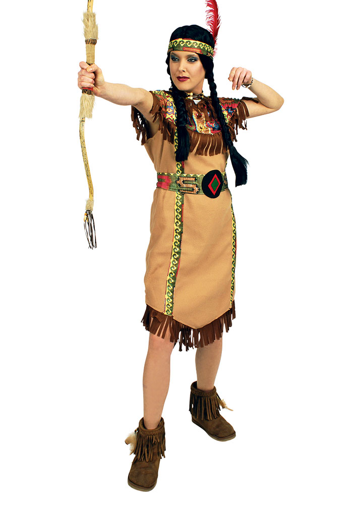 Indianer Kostum Damen Navajo Kleid Squaw Indianerin Stirnband Feder