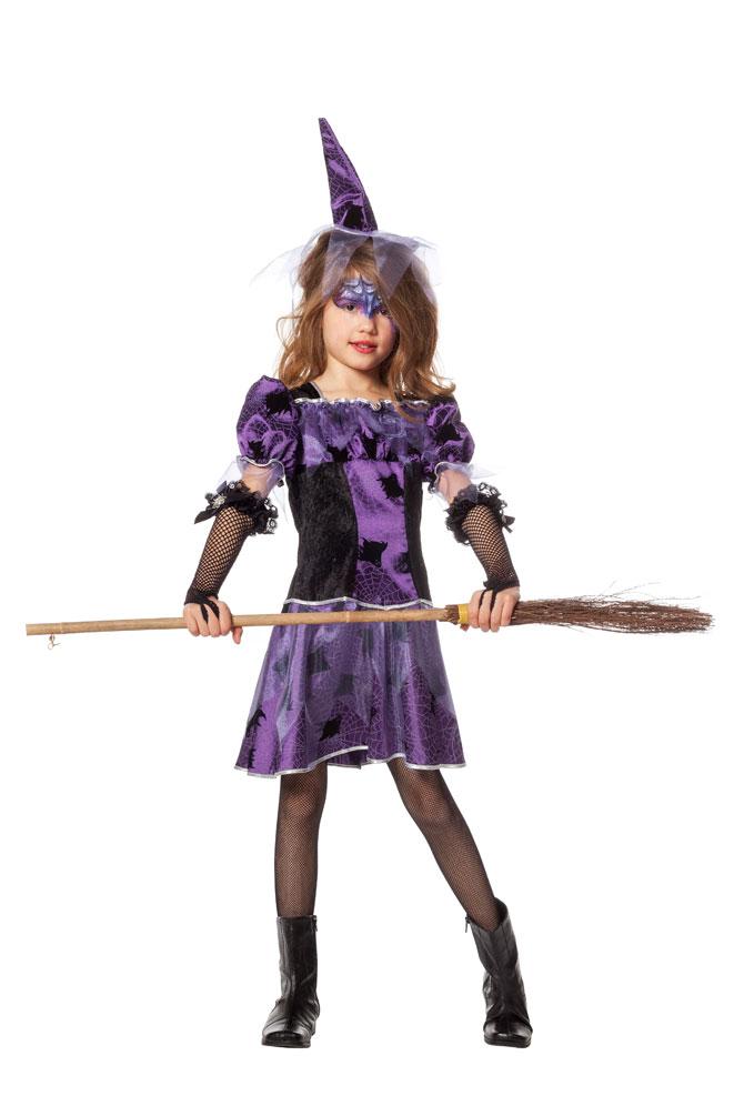 Hexenkostum Kinder Hexen Kleid Lila Mit Spinnen Hexenhut Gothic