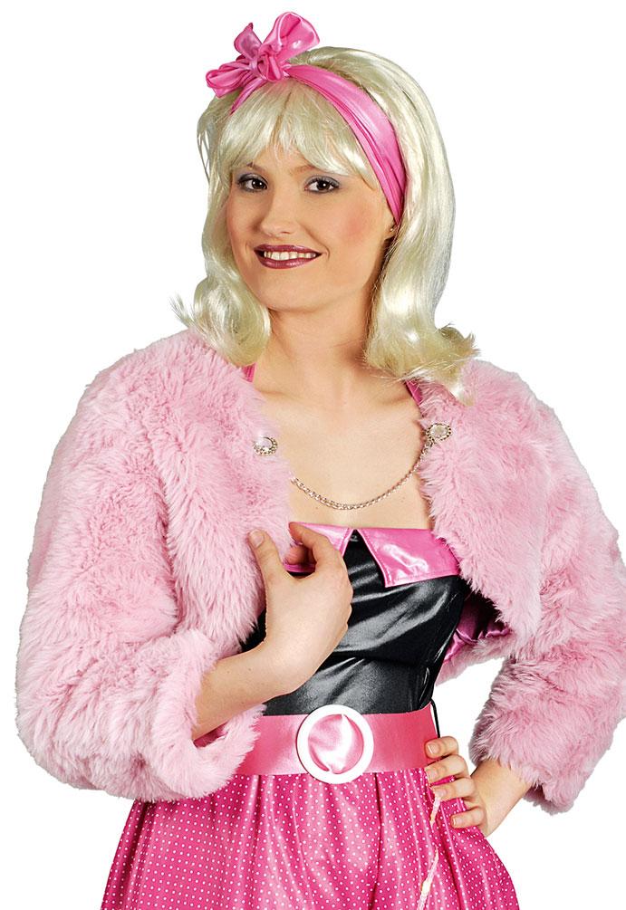 381ea76bd2725f 50er Jahre Jacke Bolero Plüsch rosa Damen Rock and Roll Kostüm Fasching KK