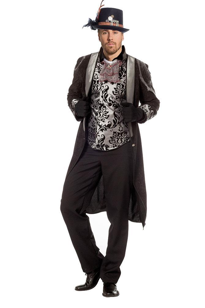 steampunk kostum herren mantel viktorianisch herren kostum schwarz silber kk