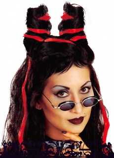 Dracula Perücke Vampir Damenperücke Teufelin mit Knoten Halloween KK