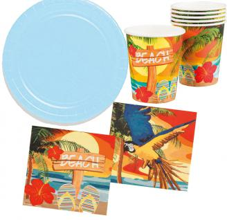 Party Set Hawaii Beach Ara blau 26 Teile : Teller, Becher, Servietten