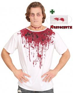 Kostüm blutig T-Shirt Blut Herren Horror Zombie mit Mundschutz Halloween KK