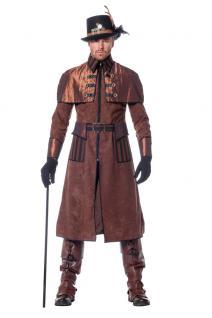 Steampunk Kostüm Herren Mantel Viktorianisch Herren-Kostüm Gothic braun schwarz