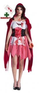 Horror Kostüm Damen blutiges Rotkäppchen Zombie Halloween Mundschutz Blut KK