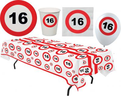 Party Set XL 45 Teile Geburtstag 16 Jahre Verkehrsschild - Vorschau