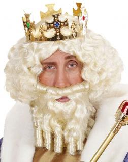 Zeus Perücke blond und Zeus Bart blond König Perücke und Bart KK