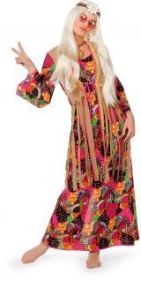 Flower Power Kleid lang Hippie-Kostüm Damen 60er 70er Jahre Woodstock Karneval K