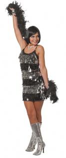 Disco Kostüm Damen 70er 80er Jahre Kleid Disco-Fever silber schwarz Fasching KK