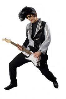 Rockstar Popstar 50er Jahre Kostüm Herren Pailletten-Jacke schwarz silber KK