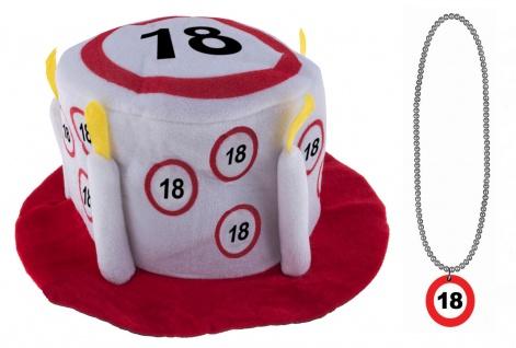 Geburtstag Hut Happy Birthday 18 Jahre Partyhut mit Geburtstags-Halskette KK