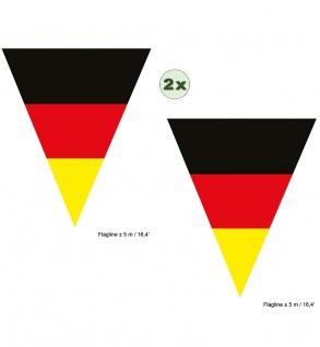 Girlande Deutschland 2 St. 5 m 10 Flaggen Fan-Artikel Handball schwarz rot gold