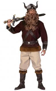 Wikinger-Kostüm Herren Nordmann-Kostüm braun mit Wikinger Helm Herren-Kostüm KK