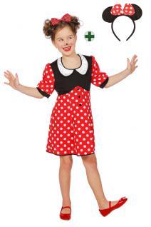 Minnie Mouse Kostüm Kinder Minnie Maus-Kostüm Mädchen Kinder-Kostüm MIT Ohren KK