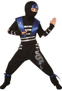 Kostüm Ninja Samurai Kämpfer blau-schwarz Kinder Jungen Kinderkostüm Fasching KK