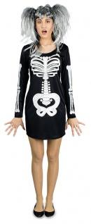 Skelett Kostüm Damen Gothic Skull Schädel Skelettkleid mit Kapuze Halloween KK