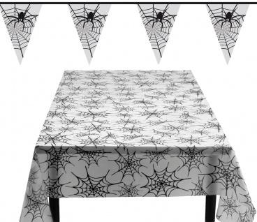 Raumdeko Party Set Halloween Spinnennetz : Tischdecke, Wimpelkette