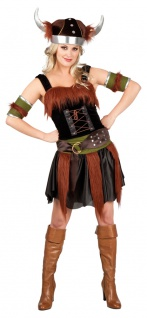 Wikinger-Kostüm Damen Sexy Nordmann Viking Damenkostüm Wikingerhelm Fasching KK