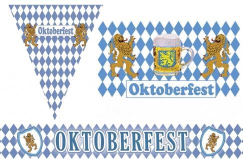 Oktoberfest Deko Raum Dekoration Party Bayern Wimpelkette Fahne Absperrband KK