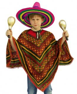 Poncho Mexikaner Mexiko Kostüm Jungen Einheitsgröße Kinderkostüm Karneval KK