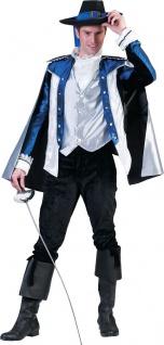 Musketier Kostüm Herren Mittelalter mit Umhang Jabot blau-silber Fasching KK