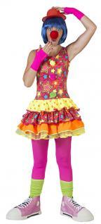 Kostüm Clown Damen bunt Sterne Punkte Clownkostüm Damenkostüm Kleid Fasching KK