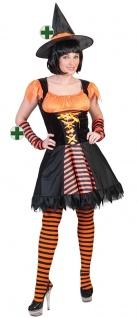 Hexe Kostüm Damen mit Hexenhut orange schwarz KK