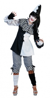 Clown Kostüm Damen Narren Harlekin Pierrot schwarz-weiß Damenkostüm Karneval KK