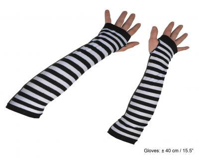 Handschuhe ohne Finger schwarz weiß Alice im Wunderland Karneval KK