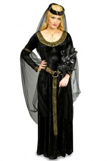 Burgfräulein Kostüm Kleid Mittelalter-Kleid Magd Damen-Kostüm schwarz gold KK