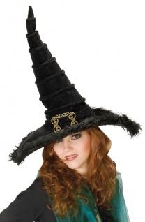 Hexenhut Damen Hut Hexe schwarz mit goldenen Schnalle Samt Halloween Hexer KK