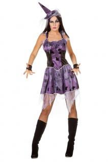Hexen-Kostüm Damen Sexy Hexe Spinnen Horror lila schwarz Halloweenkostüm KK