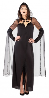 Horror Braut Kostüm Halloween schwarz Witwe gruseliges Geister Damenkostüm KK