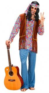 Hippie-Hemd-Weste Hippiehose Peace-Kette Haarband Flower Power 60er Jahre Herren