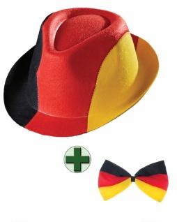 Fliege Deutschland mit Party Hut Deutschland Fanartikel Fußball schwarz rot gold