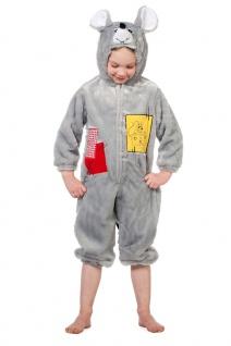 Maus Kostüm Kinder grau-e Maus Plüsch Overall Tier Kinderkostüm Karneval KK